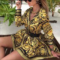 Seksi şal bağbozumu baskı altın elbise Kadınlar tatil plaj gündelik elbise Yaz zarif kısa bluz elbise parti kulüp büyük boy