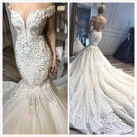 Mermaid Beaded Crystals 2019 Arabic Wedding Dresses Sweethea...