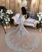 Luxus 2019 neues bloßes Tüll Abendkleid wulstiger SpitzeAppliques hohe Ansatz Illusion lange Ärmel Champagne Mermaid-Verpflichtungs-formales Kleid