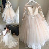 Robe de bal à manches longues robes fille fleur pour le mariage dentelle Appliqued petites filles Pageant Robes Tulle Sheer cou robe de première communion