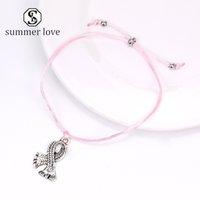 Модные Pink Ribbon рака молочной железы браслет кулон браслет Сделать ювелирные изделия Желания карты вручную Дружба Для женщин-Y