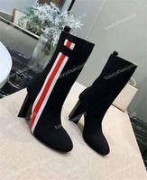 Frauen Knit Knit Stiefel aus Wildleder Ankle Boot Chunky Heel Martin Schuhe Top-Qualität Damen Stiefeletten Socken Schuhe Sneakers 10CM