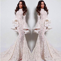 2020 New Sexy Arabic Long Sleeves Evening Dresses Mermaid Style Floor Length Long Fashion Party Dress Appliques See Through Prom Gowns 2017
