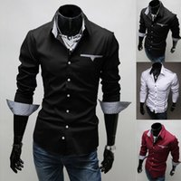 New Fashion Stylish Mens Dress Shirts Black White Slim Fit L...