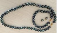 set di 9-10mm tahitianblakc collana di perle verdi orecchini baracelet 925 argento