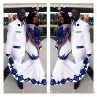 Aso Ebi nuevo blanco de satén azul real del cordón africano vestidos de baile largo ilusión mangas apliques vestido de noche de la celebridad formal vestidos del desfile
