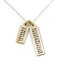 2 Pendants Personalized Name Necklace Bar Customized Any Nam...