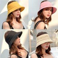 Plegable vacío Top Pescador casquillo de la manera Mujer del verano del sombrero del cubo portátil de ala ancha del sombrero de Sun Beach Sun Mujer casquillo del visera LJJT674