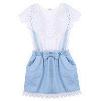 Neue Mode Mädchen Sommer Kleidung Kleider Mädchen Cowboy Kurzarm Bogen Baumwolle Baby Kinder Mädchen Ball Nette Enfant Kinder Kleid 2-7Y