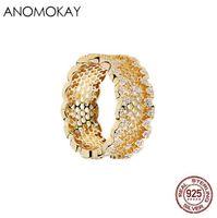Anomokay 100% 925 Sterlingsilber Bee Nest Spitze Charme-Finger-Ringe für Frauen-Mädchen Feine CZ Rose Gold Ring Schmuck Anel Geschenk