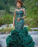 Abendkleider 2020 Verde azeitona Vestidos Ruffles Organza Longo Formal Partido vestidos de robe de soirée Abiye lantejoulas sereia Vestidos de baile