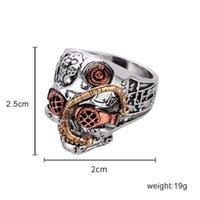 Hip Hop Anéis arte gótico legal Carving Skull Ring Aço