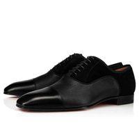 Modelo elegante para hombre pisos rojo inferior Oxfords vestido zapatos suelas CA GREGGO negro patinado genuino de cuero de cuero de la fiesta de negocios