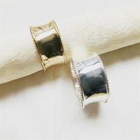 Vente chaude Or Argent Anneaux de serviette Shiny anneaux métalliques pour serviettes Hôtel banquet de mariage Décoration de table