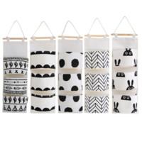 Nero bianco modello Cotone Lino Hanging Storage Bag 3 tasche da parete armadio Hang Bag parete sacchetto cosmetico Giocattoli Organizer