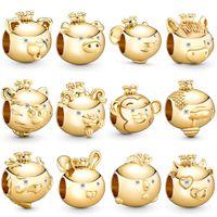 2020 Nowy 100% 925 Sterling Silver Shining Gold Zodiak Zwierząt Seria Charms Fit DIY Kobiety Oryginalna Bransoletka Moda Biżuteria Prezent Hurtownie