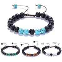 Gioielli naturali di pietra vulcanica braccialetti di fascino Uomini Wome Tigereye Perle Nero Lava Turchesi Strand braccialetto di modo Buddha