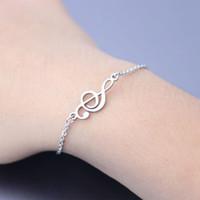 Accessori all'ingrosso delle donne del musicista dei gioielli di modo del braccialetto dell'acciaio inossidabile della nota di musica dei braccialetti di amicizia regolabili all'ingrosso 10ps / lot