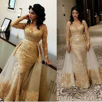 Arabic Lace Mermaid Evening Dresses With Sheer Neck Tulle Applique Over Skirt Sheer Long Sleeves Prom Dress Plus Size Formal Party Gowns