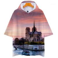 Kol Kapüşonlular Kadınlar 3D Baskılı O-Boyun Moda Tişört Erkek Nedensel Giyim Notre Dame DE Paris Erkek Kısa Tops
