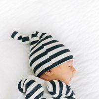 Niños Insegros de algodón Guante Anti-Grab Glove Set Boys Girls Fashion Stripe Ranking Caps Gorros Recién nacidos Bebé Sombreros Mittens 2pcs / Set C2049