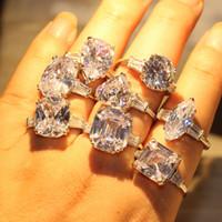 8 Estilo Dove Choucong impresionante joyería de lujo Big White Topaz 925 Huevo Partido Diamante CZ plata esterlina Promise Ring mujeres anillos de bodas del GIF