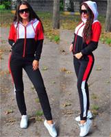 المرأة رياضية الخريف 2 أجزاء تتسابق عارضة بألواح بأكمام طويلة مقنع زيبر الرياضة الدعاوى المرأة مصمم رياضية