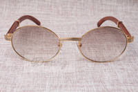 Atacado - Óculos de sol redondos gado Chifre Óculos 7550178 Homens e mulheres de madeira óculos de sol glasess Óculos Tamanho: 55-22-135mm