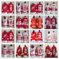 Vintage CCM Detroit Kırmızı Kanatlar 19 Steve Yzerman Jersey Hokeyi Kış Klasik 16 Vladimir Konstantinov 17 Brett Hull 21 Tomas Tatar Formalar