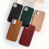 PU 가죽 케이스 커버 아이폰 11 12 Pro Max 6 6S 7 7Plus 8 Plus Wood Grain 녹색 부드러운 전화 케이스 아이폰 XS 최대 XR X