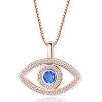 Collana Occhi Blu Male monili di lusso di cristallo CZ clavicola collana in oro rosa Terzo Occhio zircone collana regalo di compleanno Moda