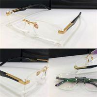 prescription de mode eyeglasses L'ARTISTE Je Rimless Frame jambes claires verres optiques de style business simple lentille claire pour les hommes