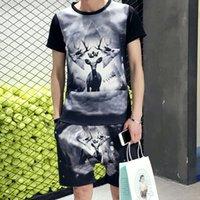 MYAZHOU Herrenmode Sets Kurzarm Shorts 3D-Druck-Satz-beiläufige Plus Size