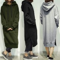 Повседневная весна осенью женщин длинные пуловер флис с капюшоном плюс размер тофтяной кофта платье T200131