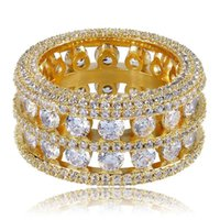 Hip Hop Shining Double Rows Rings 18k Real Chapado en oro cúbico Zircon Diamante Joyería