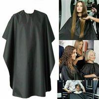 EEUU Stock 140 * 95cm Negro Peluquería Cabo Fold convenientes herramientas de corte de pelo de peluquería bata de tela de peluquería Peluquería Suministros impermeable
