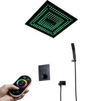 Remoto Duche Controle LED Head Light Rainfall Preto Latão termostática Shower Faucetss válvula Jets Showers 16 polegadas