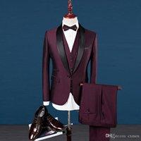 Custom Made Handsome Burgundy Men Suit Wedding Wine Red Suit Slim Fit Men Blazer Party Prom Groom Tuxedo Bridegroom Best Men 3 Piece