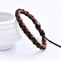 Fait à la main Tressé Bracelet Bracelets Chaînes de cire corde en cuir véritable Bracelet tissé pour les femmes noires Brown Mode hommes Tendance Punk Bijoux cadeau