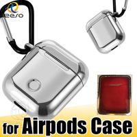 Per Airpods Caso con gancio portachiavi catenaccio della Anti perso cuffie per Apple Airpod auricolare elettrolitico TPU della copertura della protezione con la scatola di vendita al dettaglio