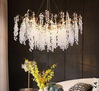 프랑스 빛 럭셔리 펜던트 램프 트리 분기 빌라 거실 레스토랑 샹들리에 전체 구리 LED 크리스탈 샹들리에 Myy