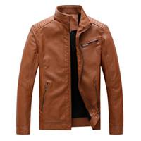 Hommes d'hiver Veste en cuir Motard Zipper manches longues Top Coat Blouses veste en cuir automne hiver moto