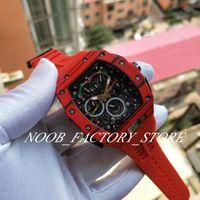 Lüks Süper Fabrika Ultra Hafif Olgu RM50-03 Dial Kırmızı Kauçuk Strapp Safir Cam Yok Kronograf Otomatik Hareket Erkekler İzle Saatler