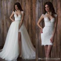 빈티지 레이스 분리 스커트 웨딩 드레스 긴 섹시한 등이없는 높은 낮은 웨딩 드레스 이동식 기차 신부 신부 드레스 웨딩 드레스