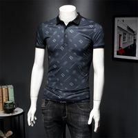 2020 yazında yeni buz ipek polo yaka erkek mektup baskı gelgit marka erkek yaka kısa kollu tişört iş rahat