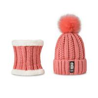Причинные Толстые fashion-осень Дама Горячий Два ПК зима женщины шарф Hat Warm Set Solid Вязаного мягкого хлопок Биб шарфы