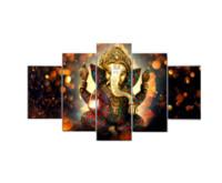 Quadro su tela HD Pittura Elefante Dio Immagini di stile per soggiorno 5 Pannello Lord Ganesha Cuadros Quadri moderni con decorazioni