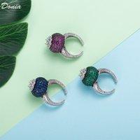Donia Jewelry Anillo de Lujo Moda Exagerada Copos Micro-incrustaciones de Zircon de Color Ancho de Color A Todo Color De Diseñadores Creativos Europeos y Americanos