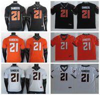 2019 ncaa oklahoma state cowboys jerseys 21 barry sanders jersey schwarz weiß orange college fußball jersey näht 150th