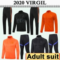 2020 Pays-Bas Full Zip Jacket Mens Soccer Jerseys Costume Nouvelle équipe nationale VIRGILE VAN DIJK DE Ligt Noir Orange T-shirt à manches longues de football